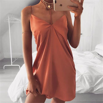 Patchwork Summer Sexy Backless Spaghetti Strap One Piece Dress [11179055695]