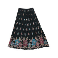 Mogulinterior Hippie Long skirt Black Floral Sequin Embroidered Boho Gypsy Skirts