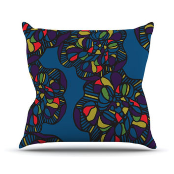 "Sonal Nathwani ""Mushroom Flower"" Navy Pattern Throw Pillow"