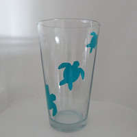 Sea Turtle Glass, Pint Drink Glass, Housewares, Glassware, Home and Living, Cups & Mugs, Christmas Gifts, Mother's Day, Birthday, Gift Ideas