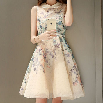 Fashion Print Loose Sleeveless Polo Neck dress