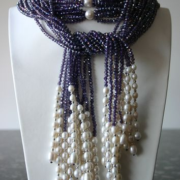 Purple Crystal And White Freshwater Pearl Necklace
