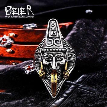 Beier new store 316L Stainless Steel China mythology hell messenger ring lucky peace man's ring high quality jewelry LLBR8-571