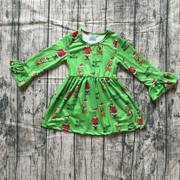new milk silk Christmas girls children clothes baby grinch print cotton Fall/Winter green long sleeve ruffle dress boutique kids