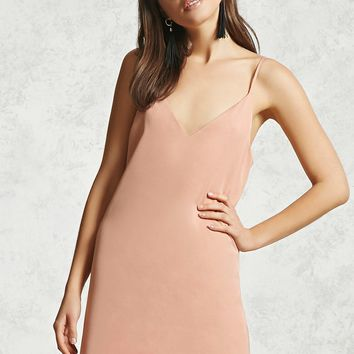Satin V-Neck Slip Dress