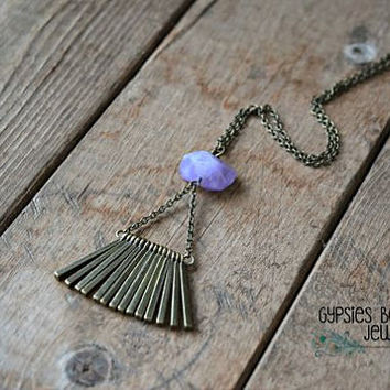 Aulora Amethyst Bar Necklace / Amethyst Necklace / Bar Necklace  / Boho Triangle Necklace