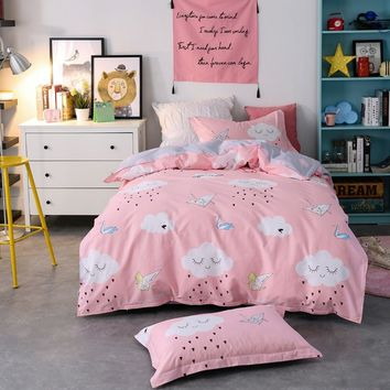 Papa&Mima children bedding set Paper bird print Cotton Twin size flat sheet pillowcase duvet cover sets Drop shipping