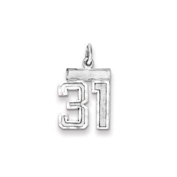 925 Sterling Silver Small #31 Charm and Pendant