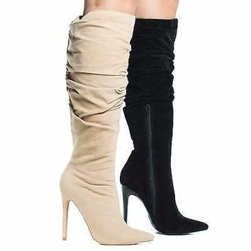 Nicky Nude By Shoe Republic, High Heel Stiletto Dress Boots w Slouchy Shaft & Zipped Up Closure