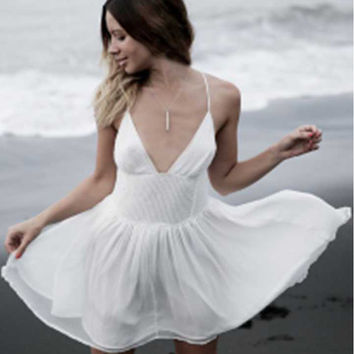 White Spaghetti Strap V-Neck Chiffon Dress