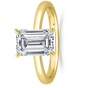1 Ct GIA Certified Emerald Cut Solitaire Diamond Engagement Ring 14K White Gold (J Color VS1 Clarity)