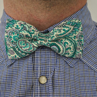 Mens Bow tie, Paisley Bow Tie, Green Bow Tie, Gift for Him, Men's Accessory