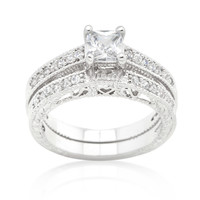 Lupe Princess Cut Filigree Engagement and Wedding Ring Set | 2ct | Cubic Zirconia