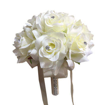 """7.5"""" Bouquet: Ivory Open Roses with Rhinestone Accents - Perfect Size for Flower Girls, Bridesmaids, Toss, etc."""