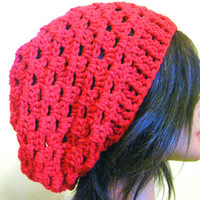 Red Slouchy Hat Lacy Oversized Hipster Slouchy Lace Womens Beanie