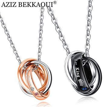 Her King & His Queen Couple Necklaces Crown Tag Pendant Stainless Steel Triple Circle Necklace