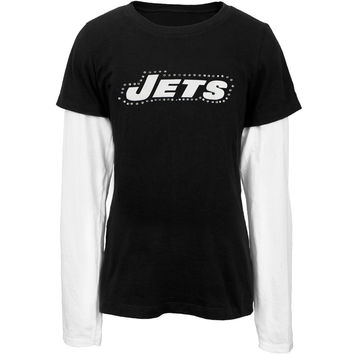 New York Jets - Jewel Team Name Girls Youth 2Fer Long Sleeve T-Shirt