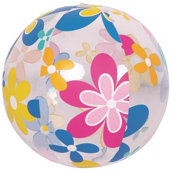 """20"""" Colorful 6-Panel Flower Print Inflatable Beach Ball Swimming Pool Toy"""