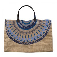 Beach Bag with Leather Handle - Majorelle - The Beach People