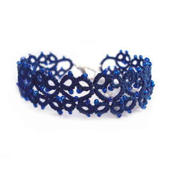 Beaded Blue Lace Bracelet - Lillian - Adjustable - Last One