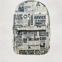 Harry Potter Newspaper Print Sublimated Backpack