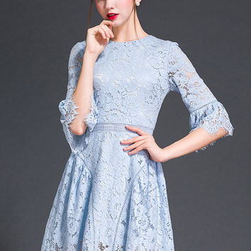 Blue Floral Bell Sleeve Lace Dress