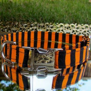 halloween dog collar, stripe dog collar, orange and black dog collar, girl dog collar, boy dog collar