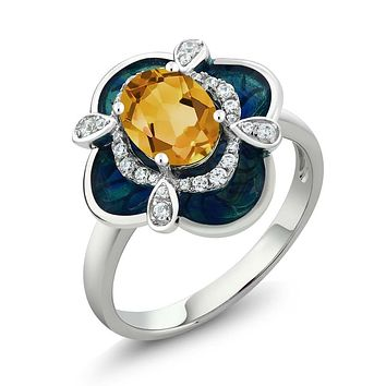 925 Silver Citrine Enamel Flower Ring