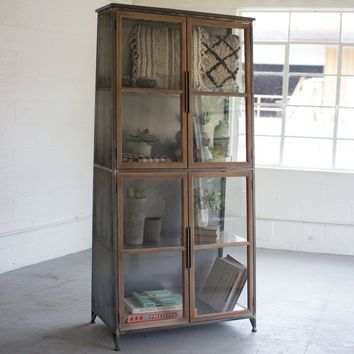 Metal & Wood Slanted Display Cabinet w/ Glass Doors