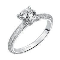 ArtCarved 14K White Gold Engraved Solitaire Engagement Ring Wedding Day Diamonds