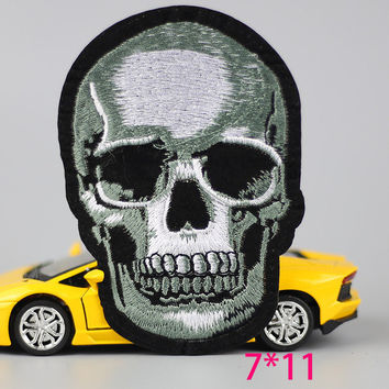 HOT sale 1PC fashion skull Skeleton head death Iron On Embroidered Patch For Cloth Cartoon Badge Garment Appliques DIY Accessory