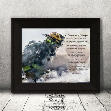 Firemans Prayer, Firefighter Prayer Print, Firefighter wall art, Prayer Print, Inspirational words, 8x10, 8x12, firefighter wall décor gift