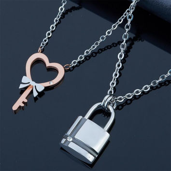 Couples Necklaces Lock and Key