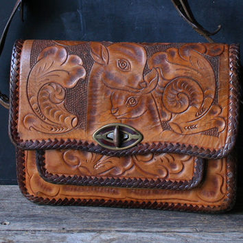 Vintage Hand Tooled Leather Purse 40s to 50s Doe With Her Baby Doe From Nowvintage on Etsy