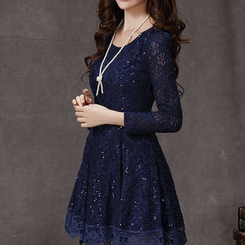 Lace dress with Sequins Little blue dress Long Sleeves Fit-and-flare Lace dress Wedding dress Party dress Fashion Wedding White yellow