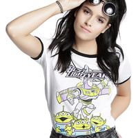 Disney Toy Story Buzz Lightyear Alien Girls Ringer T-Shirt