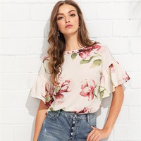 Multicolor Vacation Bohemian Beach Floral Print Flounce Ruffle Sleeve  Back Floral Blouse Women Casual Shirt Top