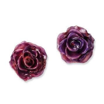 Lacquer Dipped Lilac Rose Post Earrings
