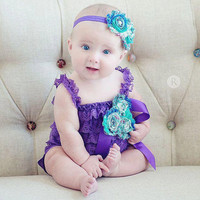 Purple Peacock Petti Lace Romper 3pc Set-Peacock Petti Lace Romper-Photo Props-Shabby Chic-SZ 6mo,12mo,18mo,24mo,2T,3T,4T