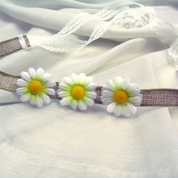Daisy Natural Linen Flower Tieback Headband