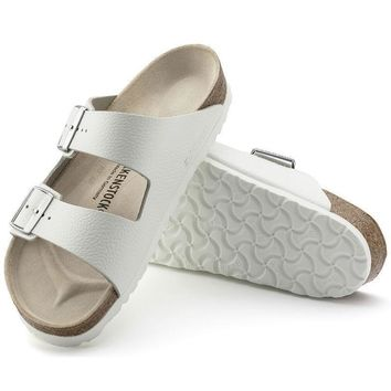 Sale Birkenstock Arizona Natural Leather White 0051131/0051133 Sandals