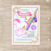 Unicorn Invitation unicorn rainbow invitation glitter sparkle birthday invitations magical horse Party Invite first any age glitters chevron