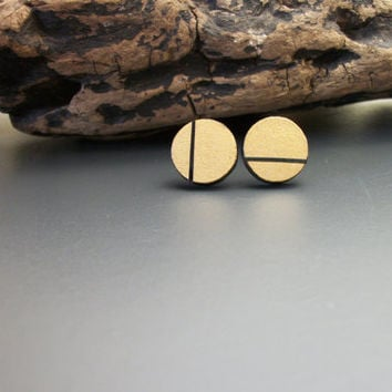 Painted circle wood stud earrings, gold and black, hand painted, modern, geometric, minimalist, wood jewelry, laser cut wood, painted studs