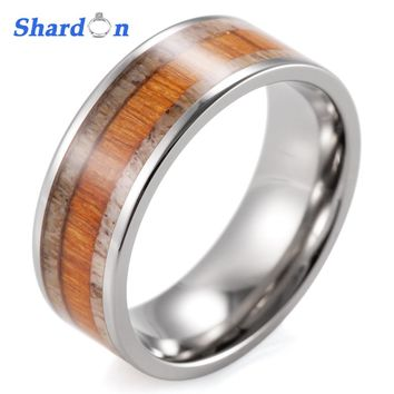 SHARDON Gent's Koa Wood Wedding Band with Real Wild Antler Inlaid Titanium Ring