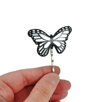 Opalescent and black butterfly bobby pin, iridescent and black shiny butterfly, eco-responsible painted plastic hair pin (recycled CD)