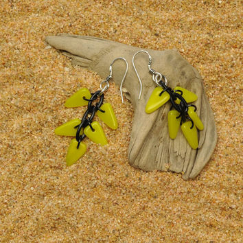 Chartreuse Flag Earrings