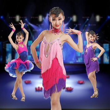 2017 fringe Latin Dance Dress For Girls  New Sexy Children Latin Competition Dancing Costume High Quality Latin Fringe Dresses