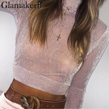 Glamaker Transparent bright silk crop top Women sexy mesh winter blouse shirt Female party club slim turtleneck blusas top tees