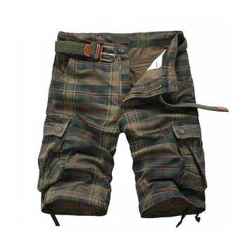 2017 Promotion Pockets Loose Mid New Arrival Plaid Beach Mens Camo Camouflage Military Short Pants Male Cargo Freeship