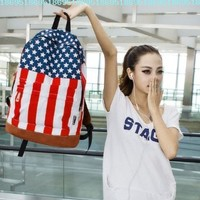 Fashion Womens Mens School Book Campus Bag Backpack Satchel Uk Us Flag Pattern (USA FLAG)